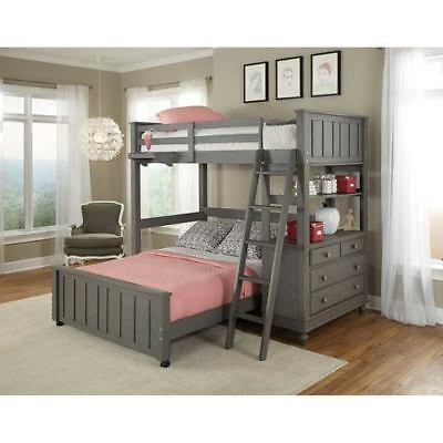 NE Kids Lake House Stone Twin Loft with Full Lower Bed - 2040NLFB