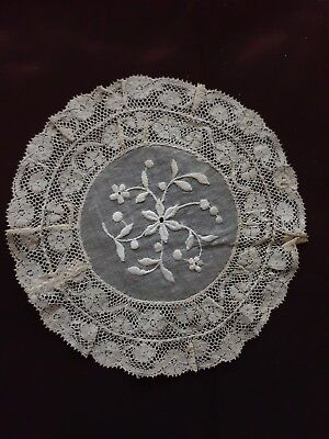 "Victorian NORMANDY LACE DOILY HANDMADE - Diameter 6 1/4"" with VALENCIENNES LACE"