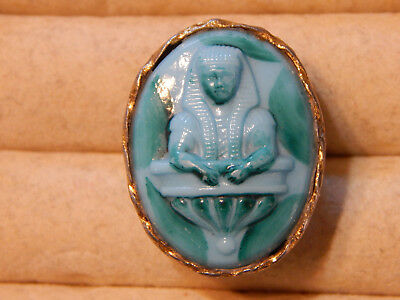 1920s Egyptian revival art deco ring faience-style; great cond., 7.5 or P size