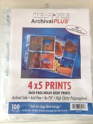 "Clear File Negative Storage Pages for 5x4"" Transparencies. Qty 25"