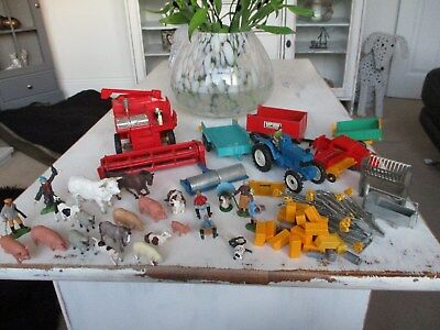 large collection of vintage britains farm animals and vehicals great lot..