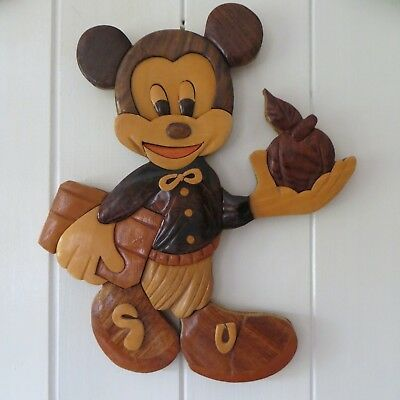 Disney Mickey Mouse Wood Wooden Art Wall Plaque Apple For Teacher