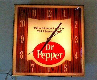 Dr Pepper Vintage Advertising Clock 1960s Pam Electric, For Parts or Repair