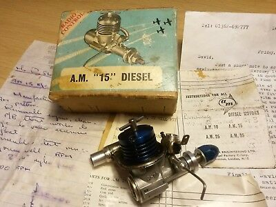 RC Vintage  A.M. 15, 1. 5cc Model Aeroplane Diesel Engine, used condition Boxed.