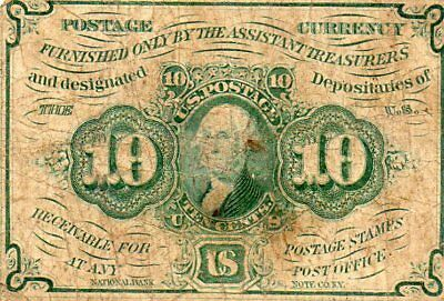 1st Issue (1862-63) 10 Cents US Fractional Currency