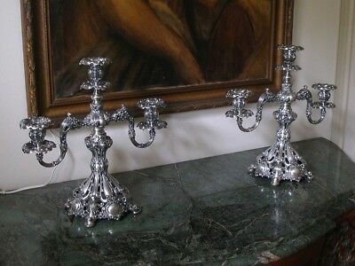 Pair Of Antique Reed And Barton 3 Branch Candelabras ~ Silver Plate ~ Ornate