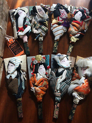 Lot 8 Vintage Japanese Hagoita Paddle Puppets Sold at NY Auction Gallery