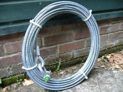 Steel Cable 100 Feet Roll 32 Metres 15Mm Diameter + Spliced Eye And Shackle New