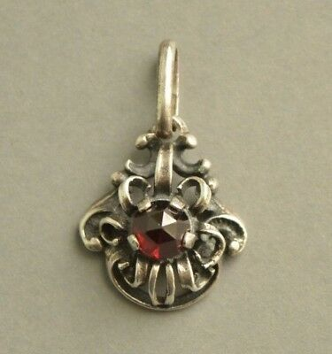 Antique Victorian Ornate Solid SILVER Faceted GARNET Pendant