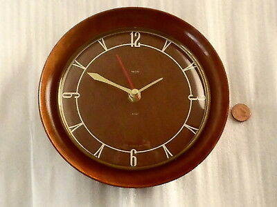 50s 60s SMITHS WALL CLOCK, Vintage ROUND SOLID TEAK WOOD Retro AA BATTERY QUARTZ