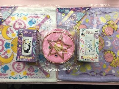 Sailor Moon Ichiban Kuji Lottery Lot Of 5 Items Glasses Towels Pouch
