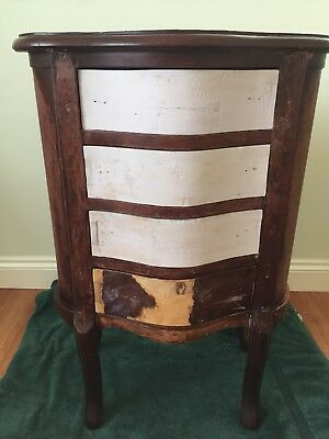 Antique Bow Fronted Bedside Table Cabinet Four Drawers - needs work / project