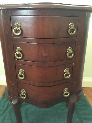 Antique Bow Fronted Bedside Side Table Cabinet Four Drawers Dark Wood