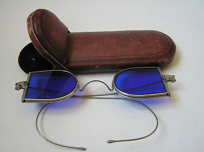 Victorian Double D Lens Blue Tinted Railroad Sun Glasses Spectacles Steampunk