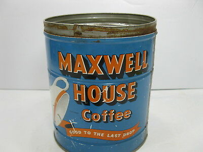Maxwell House Coffee Can Tin 2lb Size with Lid Vintage