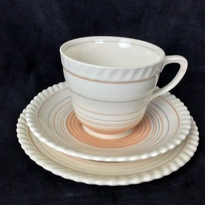 Vintage Grays Pottery Trio Tea Cup & Saucer Plate Art Deco Hand Painted 1940's