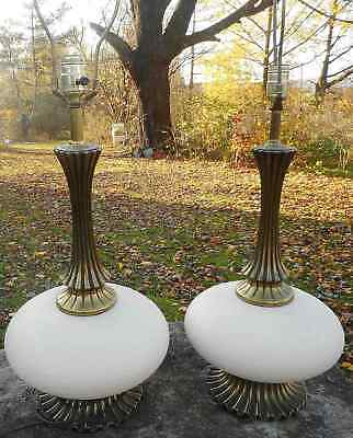 Pair of Vintage Mid-Century Ceramic & Cast Brass-FinishedTable Lamps