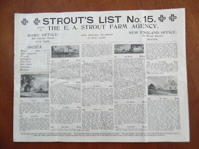 c.1915 E.A. Strout Farm Agency List No. 15 Catalog Real Estate Circular Antique