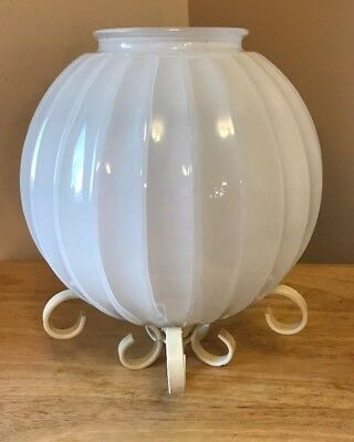 Vintage Frosted & Metal Ornate Glass Decorative Ceiling Light Fixture Globe