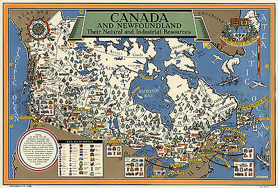Early Map Canada Newfoundland Natural Industrial Resources Wall Poster Vintage
