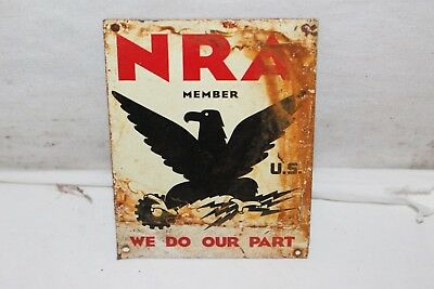 Vintage 1940's NRA Member National Rifle Assn. Gun Hunting Gas Oil Metal Sign