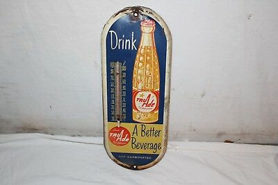 "Vintage 1950's Tru Ade Orange Soda Pop Gas Station 15"" Metal Thermometer Sign"
