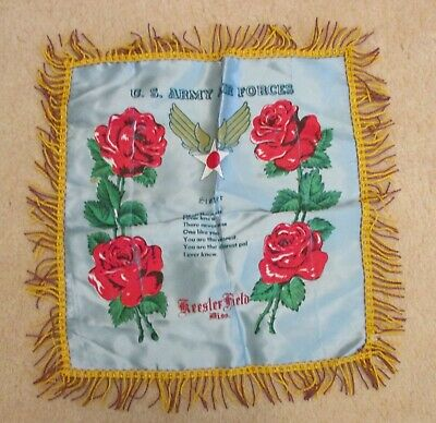 WWII Keesler Field MI US Army Air Forces Sister Satin Pillow Case REd Rose