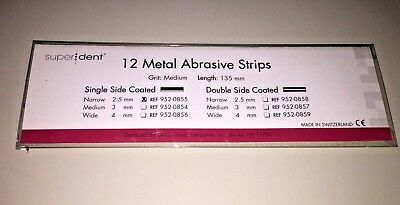 Dental Package Of 12 Metal Abrasive Strips 135Mm Grit Medium Narrow