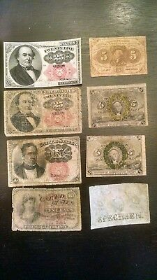 Lot of (8)  United States Fractional Currency Notes Low Grade + SPECIMEN NOTE