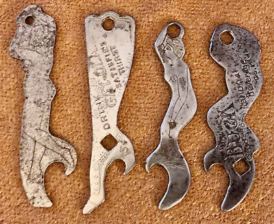 Figural Woman Ladys Leg Beer Bottle Openers Lot of 4 Gay-Ola Buck Chicago Old