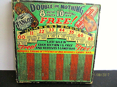 """Vintage, """"Double or Nothing"""" Punchboard. Win Candy Bars or Money."""