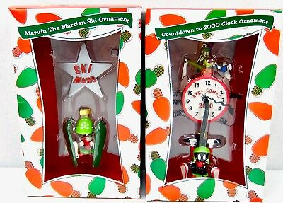 Marvin the Martian Warner Bros Studio Store Christmas Ornaments 1999 Lot of 2