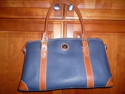 Dooney & Bourke Pebble Leather Large Domed Satchel Navy Tan Trim