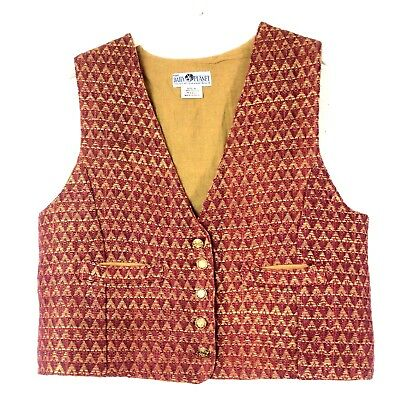 Vintage The Daily Planet Unisex Vest Triangle Lined Cotton Button Pockets Medium