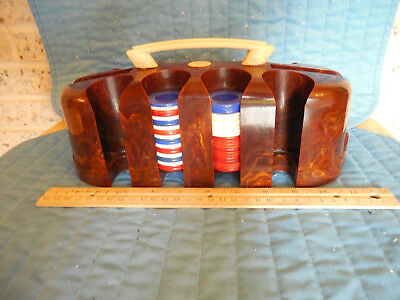 Poker Chip Caddy Carrier Holder with Cover Bakelite Catalin