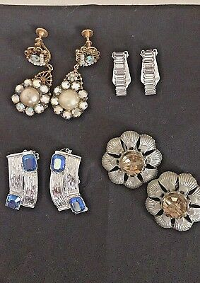 Vintage Lot Of Four Pair Of Earrings Dangle, Clip, Rhinestones One Coro