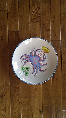 "Vietri Of Italy Blue Crab Round 14.5"" Platter W/ Option To Hang Up"