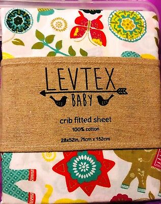 Levtex Baby ZAHARA 100% COTTON Fitted CRIB SHEET NEW w/ Tags GREAT SHOWER GIFT