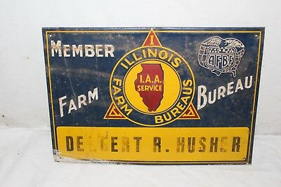 "Vintage 1940's Member Illinois Farm Bureau Feed Seed 14"" Embossed Metal Sign"