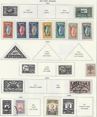 17 Lithuania Air Post Stamps from Quality Old Antique Album 1921-1936