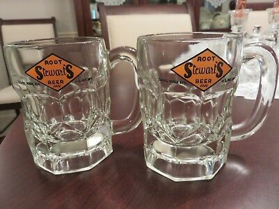 """2 Vintage Advertising Thick Glass Stewart's Root Beer 4 1/2"""" Glass Mugs EUC LOOK"""