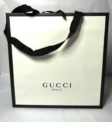 "GUCCI BEAUTY Shopping Gift Paper Bag Medium Size 11"" x 11"" x 5"""