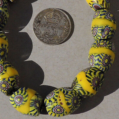 10 old antique venetian oval millefiori african trade beads #4751