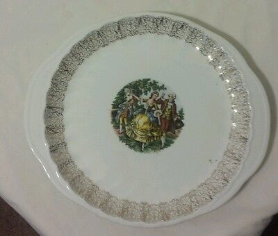 Vintage W S George Bolero China Handled Plate Platter Victorian Courting Couple