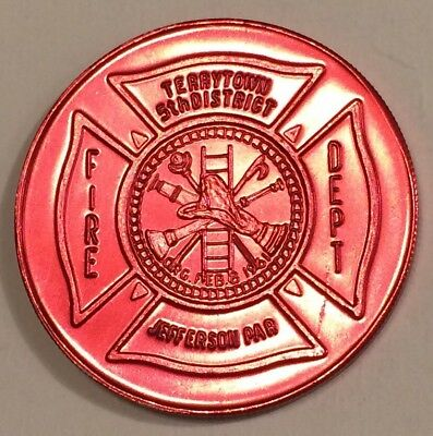1961 Vintage Terry Town fire department 5th district Mardi Gras Red Doubloon