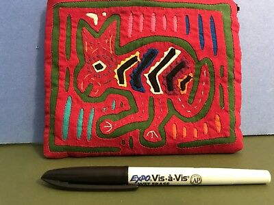 Red Zippered Mola Bag Folk art Kuna Cuna Panama Unused