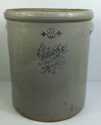 Antique 8 GALLON Monmouth ILL Pottery Co BUTTER CHURN Crock LEAF PATTERN