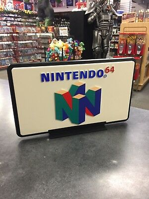 Original Official NINTENDO 64 Display Store Sign Double-Side Vintage Video Games