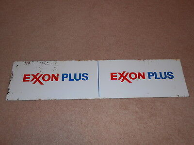 Old Thick Metal Exxon Plus Gas Pump Sign Gas & Oil Advertising