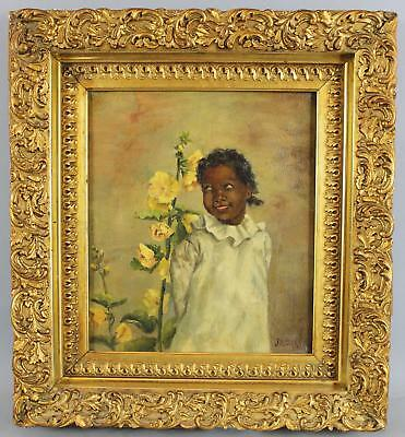 19thC Antique 1898 Black Americana Oil Painting, Young Girl & Hollyhock Flowers